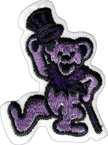 Square Deal Recordings & Supplies Dancing Bear - Light Purple Bear With Dark Purple Cane And Top Hat - Embroidered Iron On Or Sew On Patch,2.25