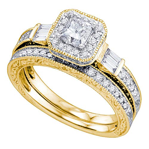 Jewels By Lux 14kt Yellow Gold Womens Princess Diamond Bridal Wedding Engagement Ring Band Set 1-1/5 Cttw In 4 Prong Setting (SI3 clarity; G-H color)