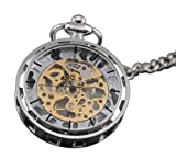 VIGOROSO Mens Classic Steampunk Gold Skeleton Hand Wind Mechanical Pocket Watch