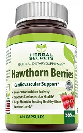 Herbal Secrets Hawthorn Berries 565 Mg 120 Capsules Non-GMO – Supports Cardiovascular Health, Helps Maintaining Existing Blood Level, Powerful Anioxidant Activity*