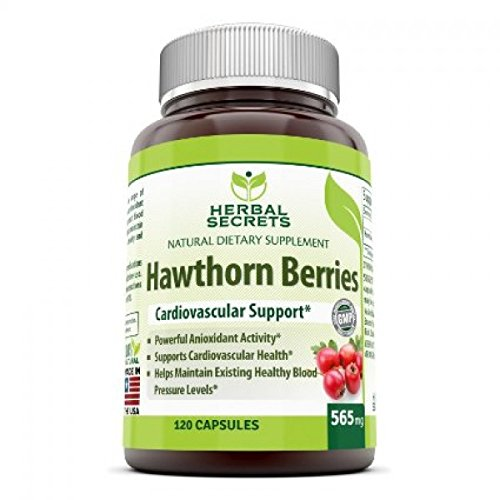Herbal Secrets 100% pure Hawthorn Berries Capsules- Antioxidant properties- 565 mg All Herbal Capsules - 120 capsules Per (Hawthorn 100 Capsules)