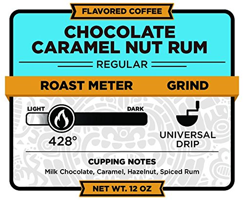 Caramel Rum (Christopher Bean Coffee Ground Coffee, Chocolate Caramel Nut Rum, 12 ounce)