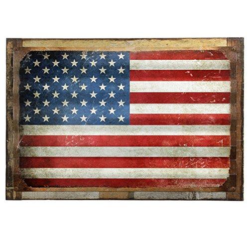 American Flag Distressed Framed Corrugated Metal Sign 26 x (Flag Vintage Metal)