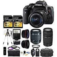 Canon EOS Rebel T6i 24.2MP CMOS Digital SLR Camera with EF-S 18-55mm f/3.5-5.6 IS STM Lens + Canon Zoom Telephoto EF 75-300mm f/4.0-5.6 III Autofocus Lens + 58mm Telephoto Lens + Wide Angle Lens + Case + Flash + Grip + Tripod + Lexar 32GB Deluxe Accessories Bundle At A Glance Review Image
