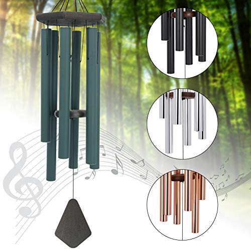 Sympathy Wind Chimes Outdoor Deep Tone,36Inch Amazing Grace Wind Chimes Large with 6 Heavy Tubes Tuned Bass Tone,Memorial Windchimes Personalized for Mother Father,Garden Decor Chime,Forest Green