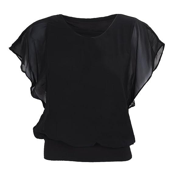 SODIAL(R)Blusa de manga de la gasa gorda del color del caramelo de