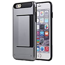 iPhone 5S Case, Asstar Wallet case Card Slot [Anti Scratch] Dual Layer Shockproof [Soft TPU] & Hybrid Hard PC Back Cover Armor for Apple iPhone SE 5S 5 (Grey)