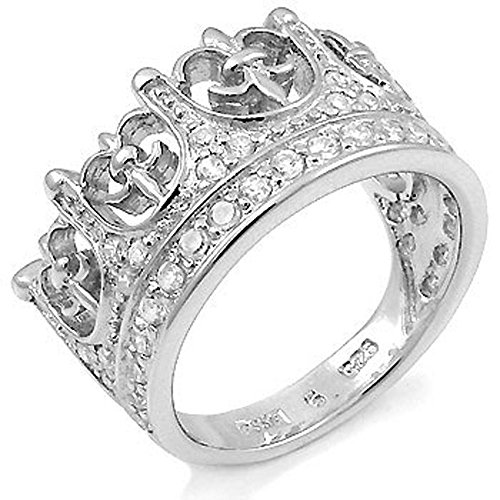Mens Large Iced Out Kings Crown Fleur De Lis Cz Sterling Silver Wedding Ring ()