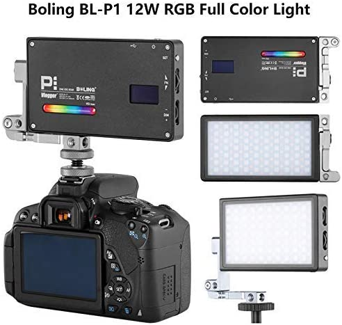 Boling BL-P1 RGB Led Video Light 2500k-8500k Mini Pocket Size On Camera Light with 9 Applicable Situation 360/° Adjustable Support System with Built in Battery