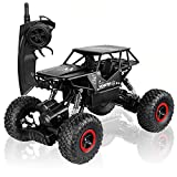 SZJJX RC Cars Off-Road Rock Crawler Truck Vehicle 2.4Ghz 4WD High Speed 1:18 Radio Remote Control Cars Electric Fast Racing Buggy Hobby Car with Metal Shell (Black)