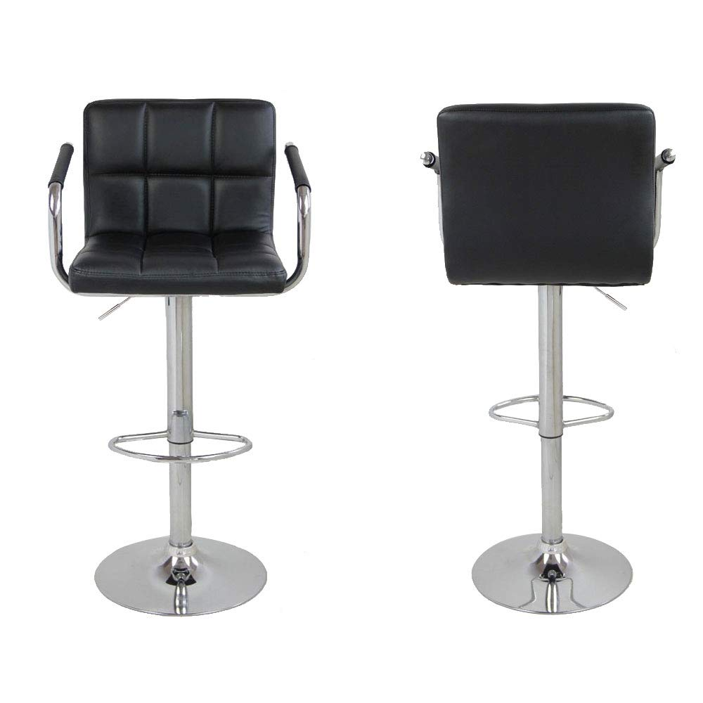 Superb Leoneva 1 Pair Faux Leather Swivel Bar Stools Adjustable Lift Swivel Chair With Backs And Chrome Base For Kitchen Counter Restaurant Stores Us Spiritservingveterans Wood Chair Design Ideas Spiritservingveteransorg