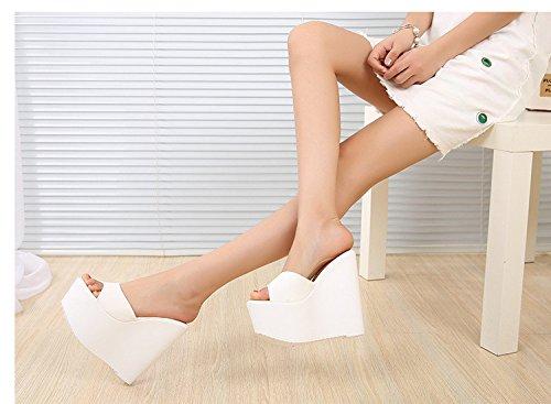 XiaoGao tacon blanco 13 nuevo de grueso de zapatillas altos tacones tipo centímetros centimetros de 16 con qqTAxSf