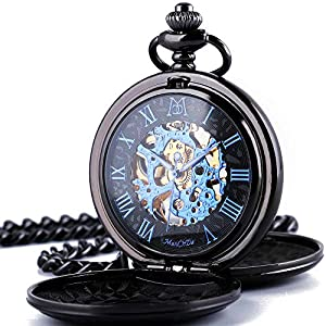 ManChDa Mechanical Roman Numerals Dial Skeleton Pocket Watches with Gift Box and Chains for Mens Women