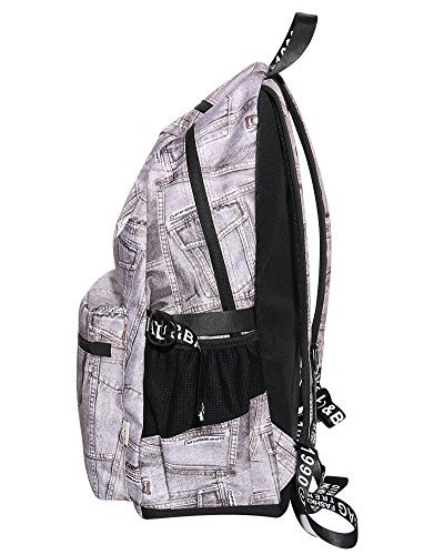 Women's Book Denim Grey Backpack Bag Denim Travel Rucksack Grey School Shoulder aIraOq