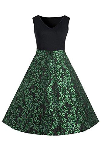 MisShow Robe Femme Vintage Grande Taille Imprime Fleurs Style Andrey Hepburn Swing Dentelle en Coton XL-5XL Vert