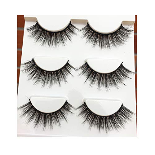 (Newificial Silk False Eyelashes Winged Cross Eye Lashes Studio Smoked,1 Box 3 Pairs)