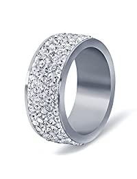 Gorgeous Stainless Steel White 5 Rows Lines Cz Cubic Zirconia Round Crystal Wedding Band Ring ,8mm Width