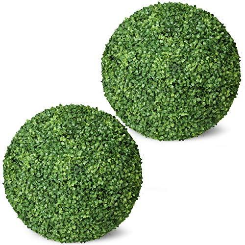 Ball Boxwood Topiary,Artificial Boxwood Ball Round Topiary Ball for Front Patio,Planter,Deck,Garden,Backyard and Home Decor (Topiary Ball, 20