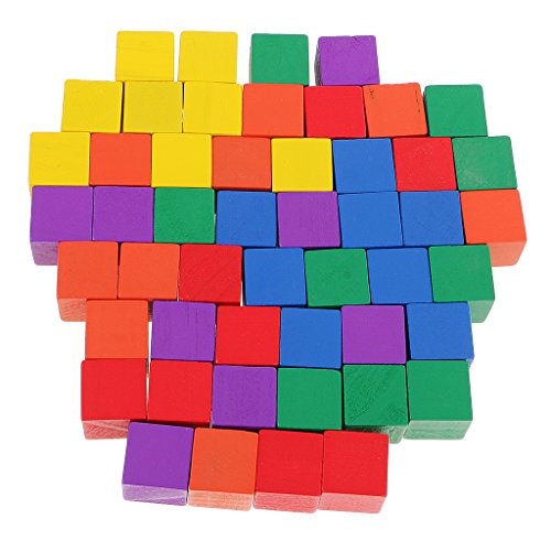 Dovewill 50 Pieces Multi-colored Wooden Cubes Square Blocks Craft Decoration Embellishments Parts DIY Accessory