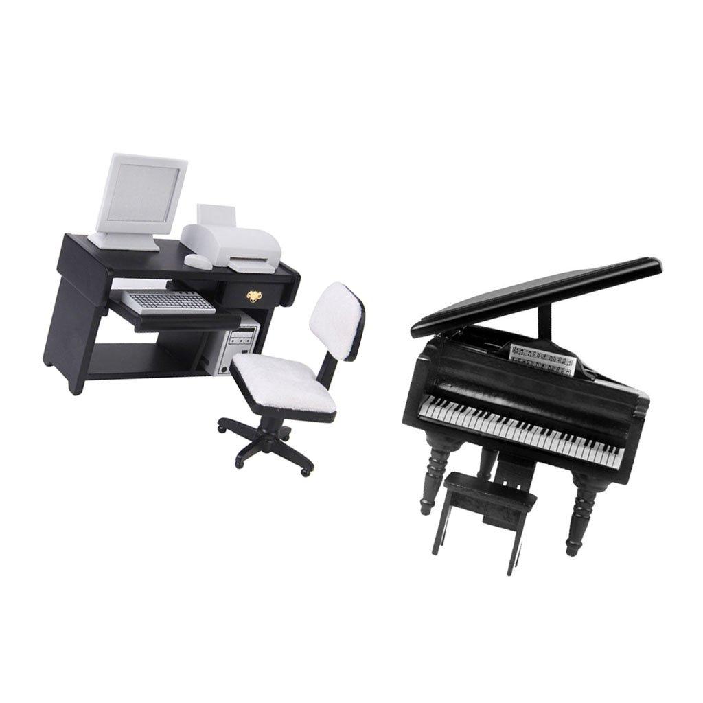Homyl Miniature Jouet Piano et Ordinateur de Bureau Meubles pour Maison de Poup/ée