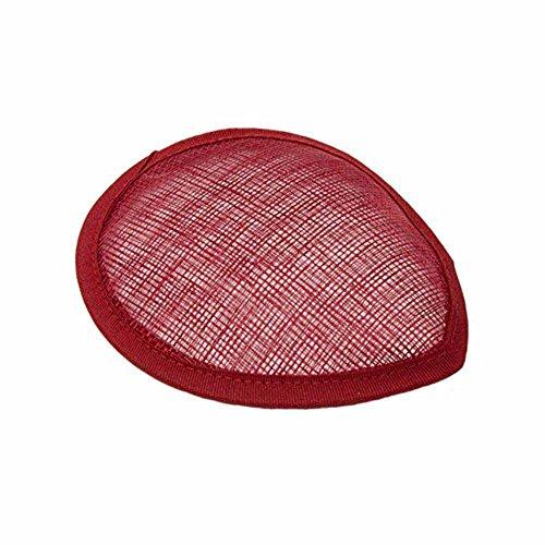 BAOBAO DIY Oval Sinamay Teardrop Fascinator Hat Base Millinery Making Craft Material(5.1inch) Wine Red