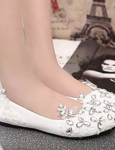 comodidad Rojo talón zapatos mujer Blanco uk4 Flats punta de us6 redonda PDX boda eu36 red cn36 Casual de plano xIYq5wyO7C
