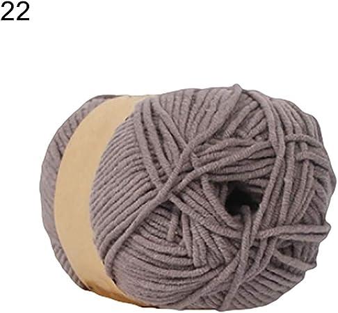 Lsgepavilion - Ovillo de Lana para Tejer (algodón y acrílico, 50 g), Color Blanco, 22#, Talla única: Amazon.es: Hogar