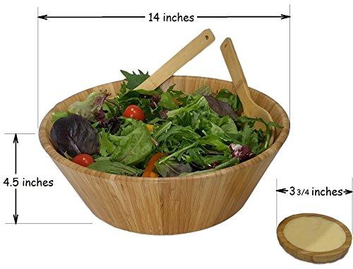Large salad bowl. Mixing bowls. Bamboo bowl with serving spoons and dressing tray. Serving bowls. Prep bowls. Fruit bowl. Mixing bowl set. Wooden basket. Salad bowl set. by PremiumPresents (Image #3)