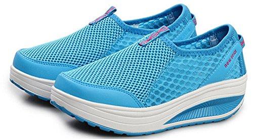 Adult Womens Shape Ups Mesh Walking Fitness Shoes Fashion Sneakers Blue EI71pOu0