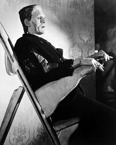 Boris Karloff 8x10 Promotional Photograph in make up chair with cigarette in Frankenstein -