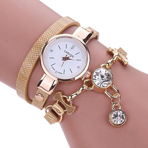 Inkach Women Watches Fashion Women's Ladies Faux Leather Rhinestone Analog Quartz Dress Wrist Watches (Khaki)