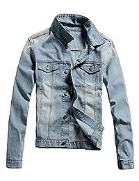 Idopy Men`s Casual Vintage Washed Denim Jeans Trucker Jacket