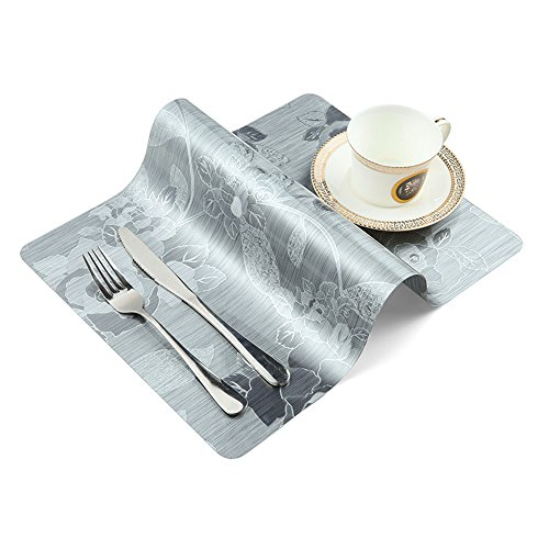 OneBelief Table Placemats (Set of 4), Non-Slip, Waterproof, Wipe Clean, Heat Insulation, Plastic Placemat Dinner Sets (Silver)