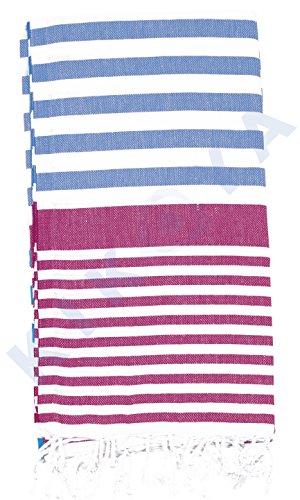 Kikoya 100% Cotton Peshtemal Turkish Beach, Bath Towel 37 Inches x 70 Inches Gym Pool Yoga Pilates Picnic Blanket Tapestry Fouta (Blue - Fuchsia)