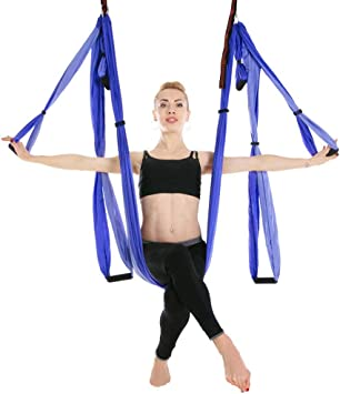 Amazon.com: C&Q CQ Aerial Yoga Hammock 6 Handle-Free, Hong ...
