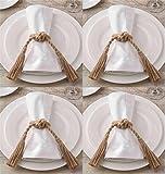 Mud Pie Jute Rope Knot Napkin Rings, Set of 4