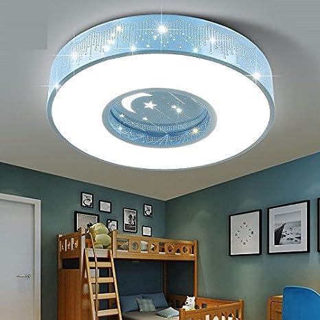 AWAMA Nursery Lamp Baby Lamp Kids Lamp Blue Ceiling Lamp Led Cartoon Star  Lamp Boy Room Lamp Girl Bedroom Lamp Romantic Round 50CM Three Light  Dimming ...