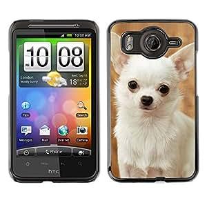TopCaseStore / la caja del caucho duro de la cubierta de protección de la piel - Happy White Chihuahua Dog Small - HTC G10