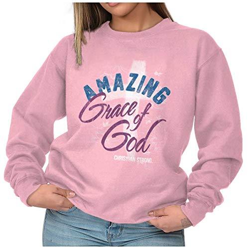 Amazing Grace God Jesus Christ Christian Crewneck Sweatshirt Light Pink