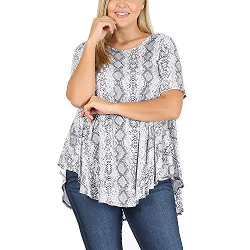 LoveCurvy (T1010E PRT) Plus Size Women's Round Neck Short Sleeves Multi Print Flowy Knit Top (Grey Snake(GS), 2X)