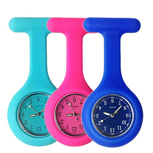Set of 3 Nurse Watch Brooch, Silicone with Pin/Clip, Glow Pointer in Dark, Infection Control Design, Health Care Nurse Doctor Paramedic Medical Brooch Fob Watch - Blue Rose Navy by LuckChungTech