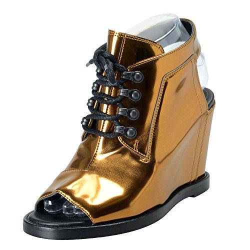 Maison Margiela MM6 Women's Leather Slingbacks Wedges Sandals Shoes US 6 IT - Gold Margiela