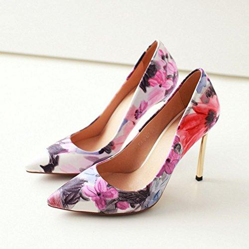 COOLCEPT Mujer Moda sin Cordones Boca Baja Zapatos Tacon de Aguja Puntiagudo Zapatos Azul Floral