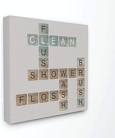 El Stupell Home Décor Collection Scrabble baño ilustración Placa de la Pared, Lona, 43.18 x 3.81 x 43.18 cm: Amazon.es: Hogar