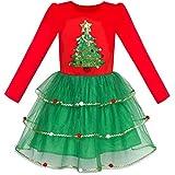 Sunny Fashion Girls Dress Christmas Tree Long Sleeve Year Party Dress Size 6