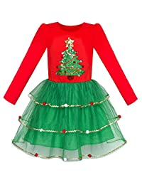 Sunny Fashion Girls Dress Christmas Santa Hat Long Sleeve Party Dress Size 6-12
