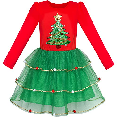 Sunny Fashion Girls Dress Christmas Tree Long Sleeve Year Party Dress Size 10 (Fashion Christmas)