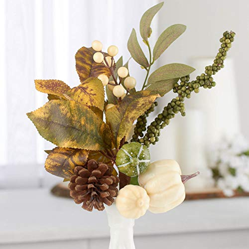Factory Direct Craft Package of 3 White and Green Artificial Pumpkins and Pinecone Sprays for Halloween, Fall and Thanksgiving Decorating & Displaying (Arrangements Pumpkins With Fall)
