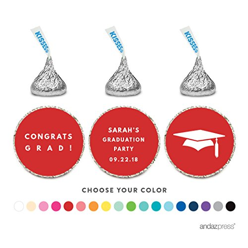 Andaz Press Personalized Chocolate Drop Labels Trio, Fits Hershey's Kisses, Graduation, 216-Pack, Custom Made Any - Custom Cupcake