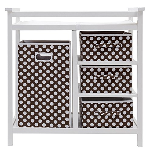 Costzon Baby Changing Table, Diaper Storage Nursery Station with Hamper and 3 Baskets (White+Brown) by Costzon (Image #1)